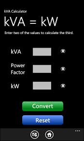 Kw To Amps Conversion Chart Kva Calculator For Windows 7 Phone Iphone Ipad Ipod Wp7