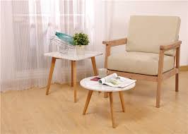 white oak wood round solid wood side table wood and glass environment friendl
