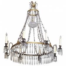 swedish bronze and crystal chandelier