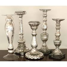 silver mercury glass tall candleholders