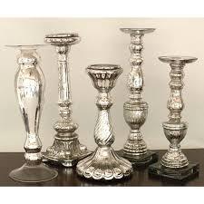 silver mercury glass tall candleholders