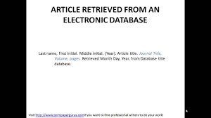 How To Cite An Article Retrieved From An Electronic Source In Apa Format