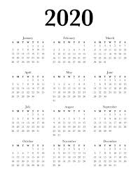 Free Calendars For 2020 Free 2020 Calendar Printable One Page Lovely Planner