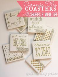 diy coasters ceramic tile coasters with sharpies and washi tape best quick diy gifts