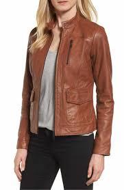 main image bernardo kerwin pocket detail leather jacket regular petite