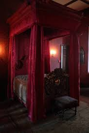 Medieval Bedroom Decor Gothic Bedroom Decor With Canopy Bed And Red Fabric And Valance
