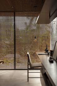 Sichtschutz Innen Holzgitter Fenster Arbeitsplatz Arbeitsfläche
