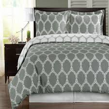 brooksfield gray and white 3 pieces king california king duvet cover set 300 tc