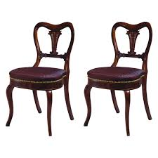 Pair of Restauration Lotus Carved Rosewood Side Chairs by Duncan
