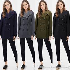 military style womens wool blend peacoat long sleeve double ted trench coat slim fit winter jackets outwear with 45 03 piece on