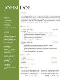 Resume Word Template Free