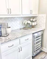 Wine fridge white cabinets grey counters Home Sweet Home