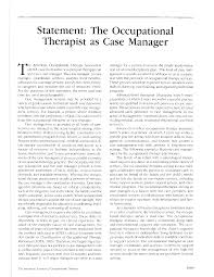 statement the occupational therapist as case manager american first page pdf preview