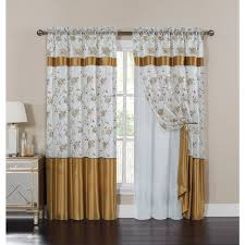 venice embroidered curtain panel with attached valance and backing