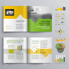 White Brochure White Brochure Template Design With Green Orange And Yellow