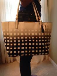 AUTHENTIC COACH MADISON GINGHAM BLACK AND WHITE SAFFIANO LEATHER HANDBAG   Coach  TotesShoppers