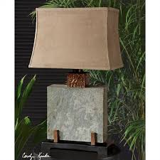 uttermost indoor and outdoor slate square table lamp in copper