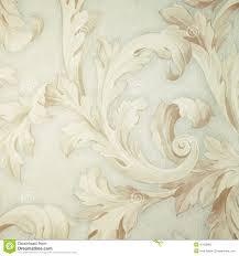 Uitstekend Grijs Victorian Behang Met Beige Barok Vignet Stock Foto
