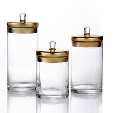 style setter 3 piece glass canisters with golden lids in small medium and large