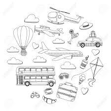 Vettoriale Elementi Disegnati A Mano Doodle Viaggi E Bambini