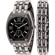 elgin men s crystal accent silver tone and black watch and cross elgin men s crystal accent silver tone and black watch and cross bracelet set walmart com