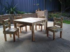 childrens timber pallet dining table and chairs play set hand