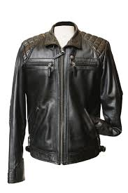 2101 mans genuine leather biker style black