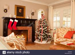 Living Room Christmas Elegant Living Room With Fireplace Decorated With Christmas Tree