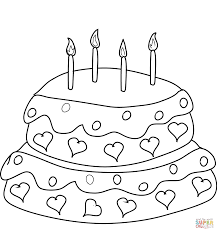 Birthday Cake With Four Candles Coloring Page Free Printable