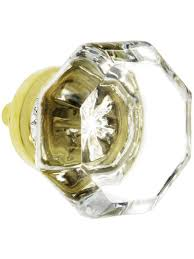 clear glass cabinet knobs. Octagonal Clear Glass Knob With Brass Base | House Of Antique Hardware Cabinet Knobs N