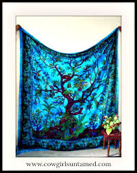 Small Picture Tree of Life Paisley Turquoise Cotton Wall Hanging bohemian