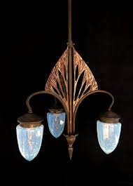 art nouveau chandelier with 3 optic blown shades