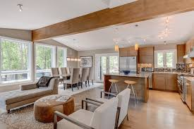 modern wood open floor plan