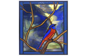 custom made bluebird in twisted oak branch stained glass window