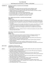 Electrical Maintenance Engineer Resume Samples Velvet Jobs S Sevte
