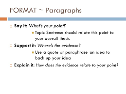 writing the essay format style evidence and conclusions ppt  2 format paragraphs