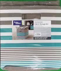 com better homes and gardens collapsible fabric storage cube teal taupe stripe home kitchen
