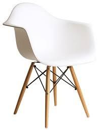 P DAW White Mid Century Modern Plastic Dining Armchair Wood Eiffel Legs