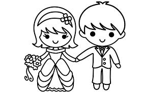 Tranh tô màu cô dâu, chú rể
