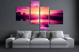 >4 piece purple canvas ocean wall art 4 piece large pictures living room multi panel art ocean photo canvas ocean