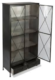 metal bookcase with 2 glass doors and 3 internal metal shelves