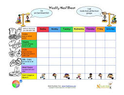 Small Picture Printable meal tracking sheets for kids from Nourish Interactive