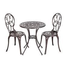 Arria antique bronze 3 piece aluminum round outdoor bistro set