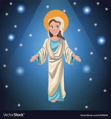 Virgin mary faith bright background Royalty Free Vector