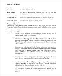 private head housekeeper job description housekeeping job duties