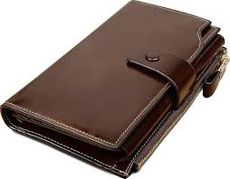 yaluxe large capacity leather wallet with zipper pocket