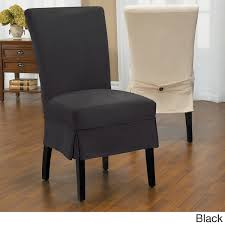 black dining chair covers. Luxury Suede Mid Pleat Relaxed Fit Dining Chair Slipcover With Buttons Black Covers Pinterest