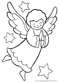Smiling Christmas Angel In The Sky Color Page Holiday Coloring Pages