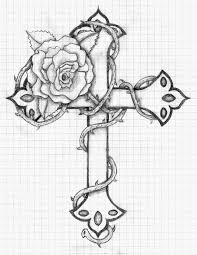 Drawn cross rose pencil and in color drawn cross rose drawn cross rose 3 drawn 20cross 20rose pencil drawings of crosses cross