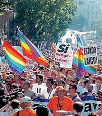 same sex marriage in spain  gay celebrating pride day and legalization of same sex marriage